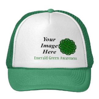Emerald Green Flower Ribbon Template Cap