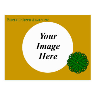 Emerald Green Flower Ribbon Template Postcard