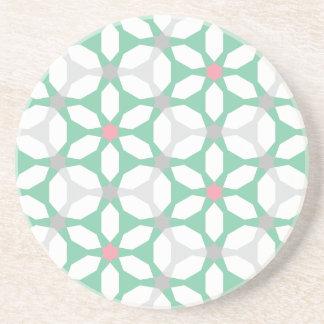 Emerald Green Geometric Pattern Coaster