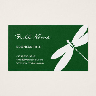 Emerald Green & Gold Dragonfly Business Cards