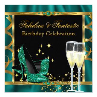 Emerald Green Gold Fabulous Heels Birthday Party 2 13 Cm X 13 Cm Square Invitation Card