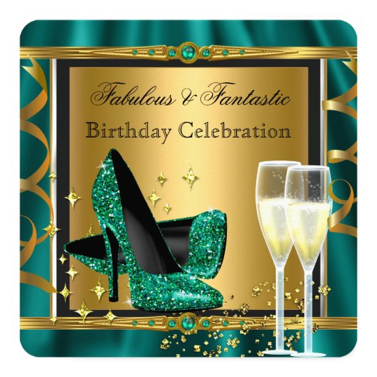 Emerald Green Gold Fabulous Heels Birthday Party 3