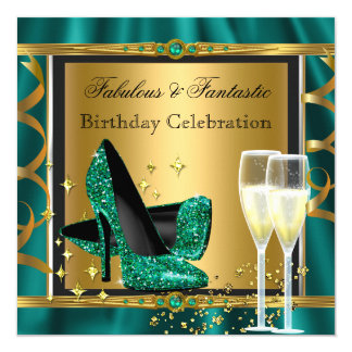 Emerald Green Gold Fabulous Heels Birthday Party 3 13 Cm X 13 Cm Square Invitation Card