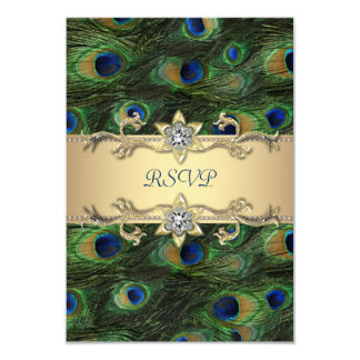 Emerald Green Gold Royal Indian Peacock RSVP 9 Cm X 13 Cm Invitation Card