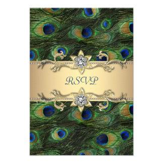 Emerald Green Gold Royal Indian Peacock RSVP Invitation