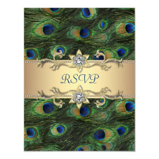 Emerald Green Gold Royal Indian Peacock Wedding 11 Cm X 14 Cm Invitation Card
