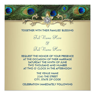 Emerald Green Gold Royal Indian Peacock Wedding 13 Cm X 13 Cm Square Invitation Card