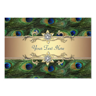 Emerald Green Gold Royal Indian Peacock Wedding 9 Cm X 13 Cm Invitation Card