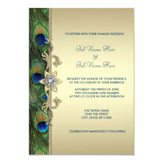 emerald green gold royal indian peacock wedding card - Indian Wedding Invitations