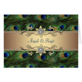 Emerald Green Gold Royal Indian Peacock Wedding Greeting Card