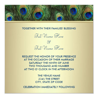 Emerald Green Gold Royal Indian Peacock Wedding Invites