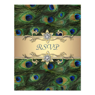 Emerald Green Gold Royal Indian Peacock Wedding Announcement