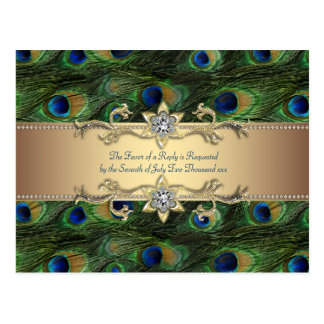 Emerald Green Gold Royal Indian Peacock Wedding Postcard