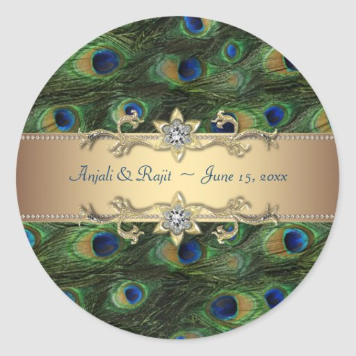 Emerald Green Gold Royal Indian Peacock Wedding Stickers