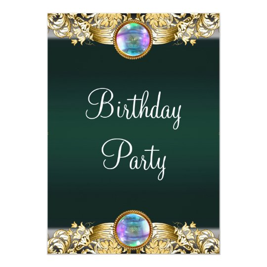 Emerald Green Gold Womans Birthday Party Card