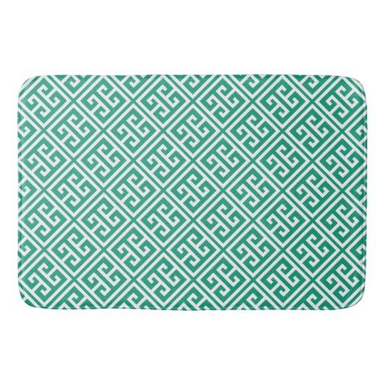 Emerald Green Greek Key Pattern Bath Mats