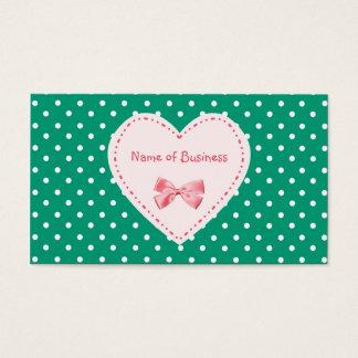 Emerald Green Heart Business Name Business Card
