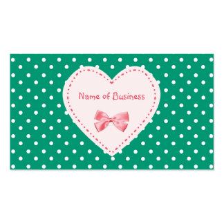 Emerald Green Heart Business Name Pack Of Standard Business Cards