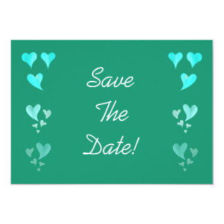 Emerald Green Hearts Save The Date 13 Cm X 18 Cm Invitation Card