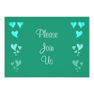 Emerald Green Hearts Wedding Invitation