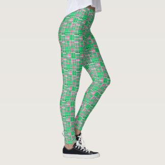 Emerald Green Hot Pink Madras Patchwork Plaid Leggings