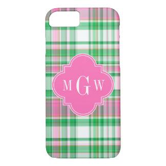 Emerald Green Hot Pink Wht Preppy Madras Monogram iPhone 7 Case
