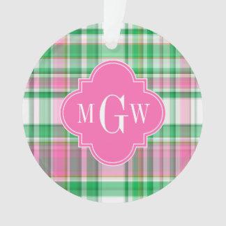 Emerald Green Hot Pink Wht Preppy Madras Monogram Ornament