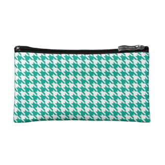 Emerald Green Houndstooth Cosmetic Bags