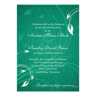 Emerald Green Ivory Floral Wedding Invitation