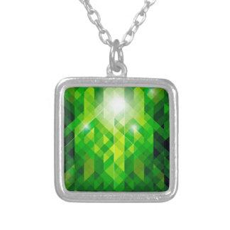 Emerald Green Jewel Pattern Square Pendant Necklace