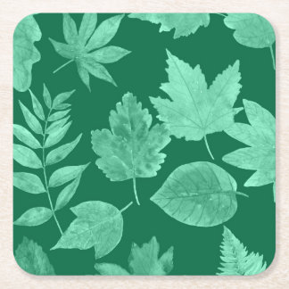 Emerald Green leaves, fall cocktail party idea Square Paper Coaster