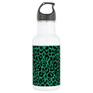 Emerald Green Leopard Pattern Home Decor 532 Ml Water Bottle