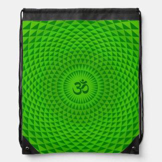 Emerald Green Lotus flower meditation wheel OM Drawstring Bag