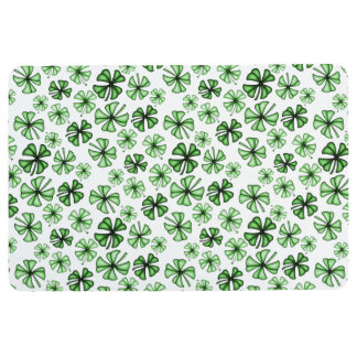 Emerald-Green Lucky Shamrock Clover Floor Mat