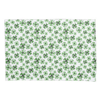 Emerald-Green Lucky Shamrock Clover Pillowcase