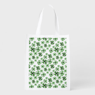Emerald-Green Lucky Shamrock Clover Reusable Grocery Bag
