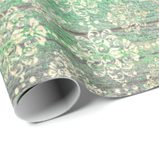 Emerald Green Metallic Foxier Gold Wood Rustic Wrapping Paper