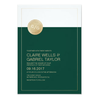 emerald green minimalist modern wedding invitation