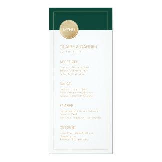 Emerald green minimalist modern wedding menu card