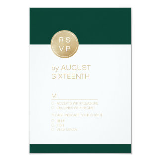 Emerald green minimalist modern wedding RSVP Card