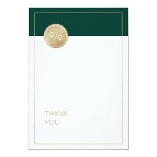 Emerald green minimalist modern wedding thank you card