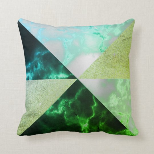 Emerald Green Mint Gray Triangles Geometric Marble Cushion
