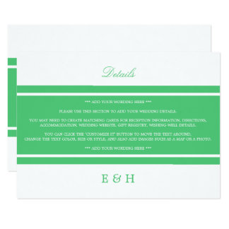 Emerald Green Modern Wedding Detail Card