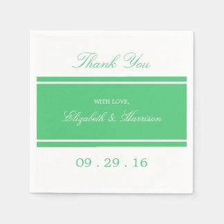 Emerald Green Modern Wedding Disposable Serviettes
