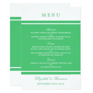 Emerald Green Modern Wedding Menu Card