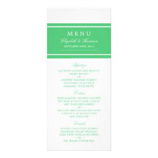 Emerald Green Modern Wedding Menu Full Colour Rack Card