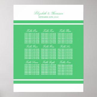 Emerald Green Modern Wedding Seating Chart