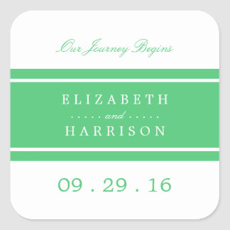 Emerald Green Modern Wedding Square Sticker