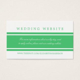 Emerald Green Modern Wedding Website Business Card