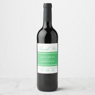 Emerald Green Modern Wedding Wine Label